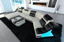 Designer Couch Turino in Stoff als C Form mit LED Licht