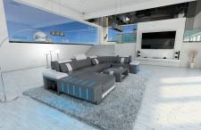 Design Wohnlandschaft Bellagio in U Form mit Kopfstützen