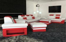 Leder Sofagarnitur Monza mit 3 Sitzer und 2 Sitzer Sofa plus Ledersessel