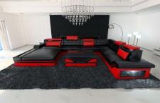 XXL Wohnlandschaft Mezzo schwarz-rot