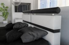 Modernes Komplettbett Venedig in weiss schwarz mit LED Beleuchtung
