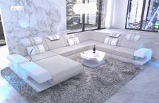 Polster Wohnlandschaft Venedig XXL Couch mit Ottomane und LED Licht