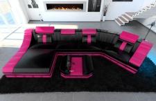 Leder Wohnlandschaft Turino C Form schwarz-pink