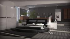 Luxus Designerbett Night mit edler LED Beleuchtung in schwarz