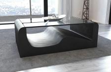 Couchtisch Wave als moderner Leder Wohnzimmertisch mit Sicherheitsglas