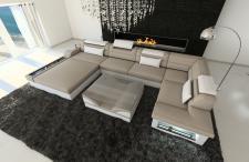 Luxus Wohnlandschaft Mezzo als U Form Stoffsofa mit LED Licht