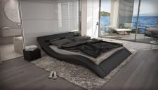Polsterbett Massa mit Beleuchtung Designerbett in schwarz