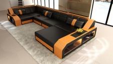 Leder Wohnlandschaft Arezzo U Form schwarz-orange