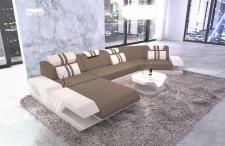 Polster Couch Venedig C Form mit Ottomane und Beleuchtung