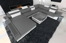 Designer Wohnlandschaft Mezzo in der XXL Variante mit LED Licht