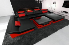 Leder Wohnlandschaft Monza U Form schwarz-rot
