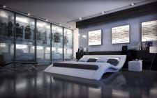 Polsterbett Massa mit Beleuchtung - Designerbett in weiss
