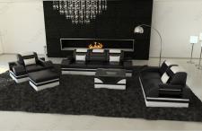 Designer Couchgarnitur Parma in Leder mit 3er, 2er und Sessel