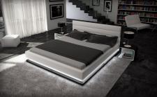 Designerbett modern Moonlight weiss schwarz 180x200 mit Beleuchtung