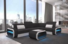 Stoffsofa Eckcouch Verona modern mit LED Beleuchtung