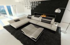 Designer Couch Monza in Stoff als L Form mit verstellbaren Kopfstützen