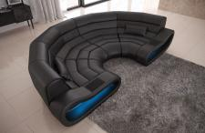 Bigsofa Leder Concept mit Ottomane und LED Beleuchtung