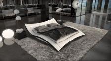 Modernes Wasserbett weiss schwarz Ancona Komplett Set mit LED Beleuchtung