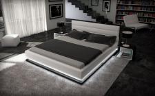 Designerbett MOONLIGHT in weiss schwarz mit LED Beleuchtung