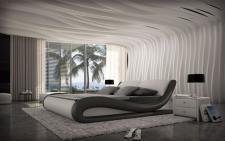 Luxuriöses Wasserbett Aprilia mit kompletter Wassertechnik schwarz-weiss