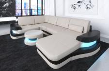 Designer Wohnlandschaft Modena U Form in Stoff und LED Beleuchtung