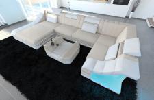 Designer Stoffsofa Turino als moderne U Form Wohnlandschaft