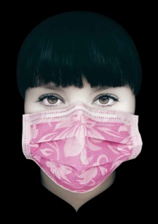 OP Mundschutz 4-lagig (50 Stück) mit Floralem Blumenmuster rosa. mit Gummibändern und Nasenbügel