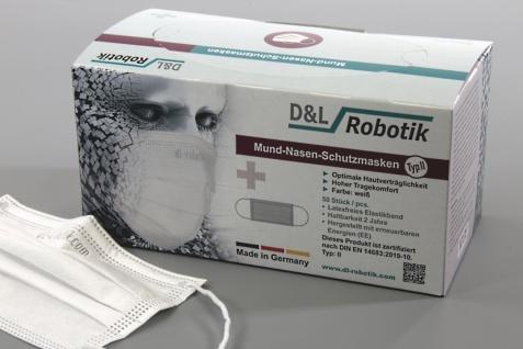 Einmal-Mundschutz weiß. Made in GERMANY. 3-lagig. mit Nasenbügel und Ohrschlaufen (50 Stück)