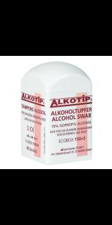 Alkotip Alkoholtupfer im praktischen Tupferdispenser. 4.4 x 4.4 cm. einzeln entnehmbar (150 +5 Stück)