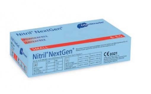 Nitril Labor-Handschuhe NextGen. puderfrei blau (100 Stück) Viren- Chemikalien- und Chemoresistenz