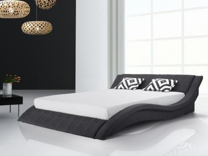 Designer Stoff Bett Polsterbett Vicky Lederbett schwarz + grau 180 x 200 cm mit Lattenrost - Vorschau 2