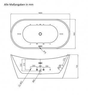 Freistehender Luxus Whirlpool Badewanne Orlando freistehend mit 12 Massage Düsen + LED Spa für Bad - Vorschau 4