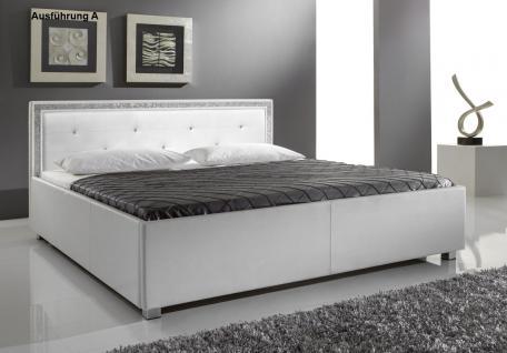 "Designer Lederbett / Polsterbett ""Mia"" Leder Bett weiss 3 verschiedene Kopfteile wählbar - Vorschau 1"