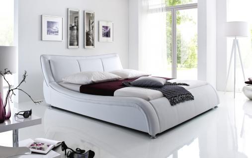 """Designer Lederbett / Polsterbett """"Selina"""" Bett weiss oder schwarz wellenförmiges Design - Vorschau 1"""