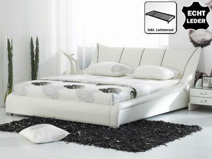 "Designer ECHTLEDER Bett Leder Polsterbett ""Royal"" 160 / 180x200 cm Echt Lederbett weiss mit Lattenrost - Vorschau 1"