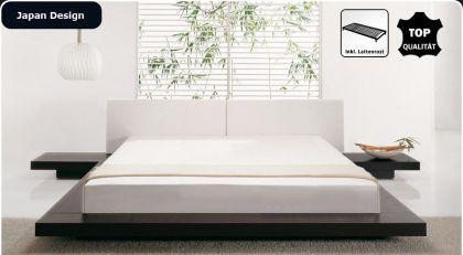 """Massives Designer Bett """"Japan Style"""" Holz Bett Farbe Nougat mit Lattenrost - Futonbett japanischer Stil"""