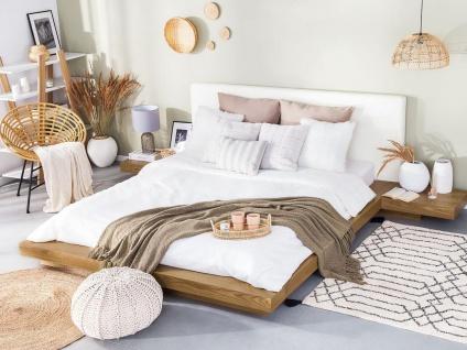 "Massives Designer Bett ""Japan Style"" 160 / 180 x 200 cm Holz Bett Buche / hellbraun mit Lattenrost - Futonbett japanischer Stil"