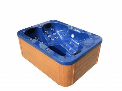Outdoor Whirlpool Hot Tub Spa Lyon BLAU mit 27 Massage Düsen + Heizung + Ozon Desinfektion für 2 - 3 Personen