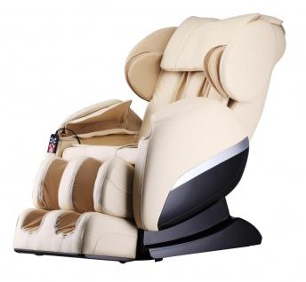 Massagesessel Shiatsu F3000 Zero Gravity Leder Farbe creme weiss / beige mit Rollentechnik + Heizung + Fußmassage