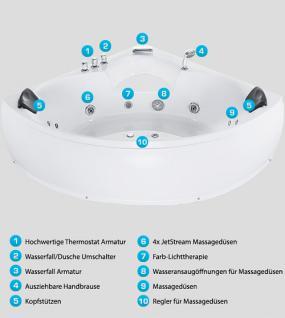 Whirlpool Badewanne Monaco Eckbadewanne mit 12 Massage Düsen + Beleuchtung Sprudelbad Eckwanne innen - Vorschau 5
