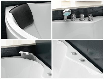 Whirlpool Badewanne Toskana Eckwanne mit 10 Massage Düsen + Beleuchtung Luxus Spa innen günstig - Vorschau 2