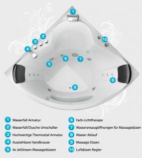 Whirlpool Badewanne Toskana Eckwanne mit 10 Massage Düsen + Beleuchtung Luxus Spa innen günstig - Vorschau 3