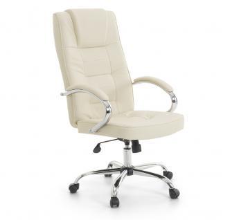 """Leder Chefsessel Massagesessel """"San Diego"""" mit Massage beige creme weiß Bürosessel"""