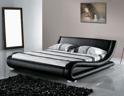 """Designer ECHTLEDER Bett echtes Lederbett """"Avignon"""" schwarz Polsterbett mit Lattenrost / Lattenrahmen"""