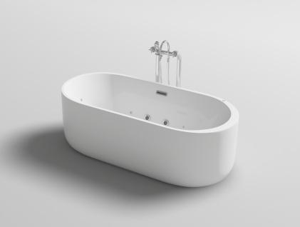 Freistehender Luxus Whirlpool Badewanne Bern freistehend mit 12 Massage Düsen + LED Spa für Bad - Vorschau 2