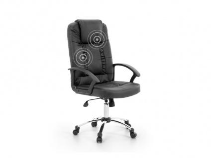 """Leder Chefsessel Massagesessel """"Relax"""" schwarzer Bürostuhl mit Massage super günstig"""