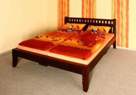 """Massivholz Bett """"Oxford"""" Holzbett Farbe nougat oder honig aus edlem massiven Akazienholz günstig - Vorschau 1"""