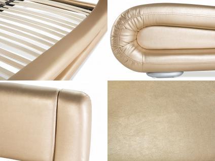 """Designer ECHTLEDER Bett Lederbett """"Avignon"""" gold Polsterbett mit Lattenrost / Lattenrahmen günstig 160 oder 180 x 200 cm - Vorschau 3"""