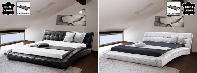 "Designer ECHTLEDER Bett echtes Lederbett ""Miami"" schwarz + weiß Polsterbett mit Lattenrost / Lattenrahmen"