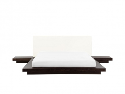 "Massives Designer Bett ""Japan Style"" 160 / 180 x 200 cm Holz Bett Farbe Nougat mit Lattenrost - Futonbett japanischer Stil - Vorschau 2"